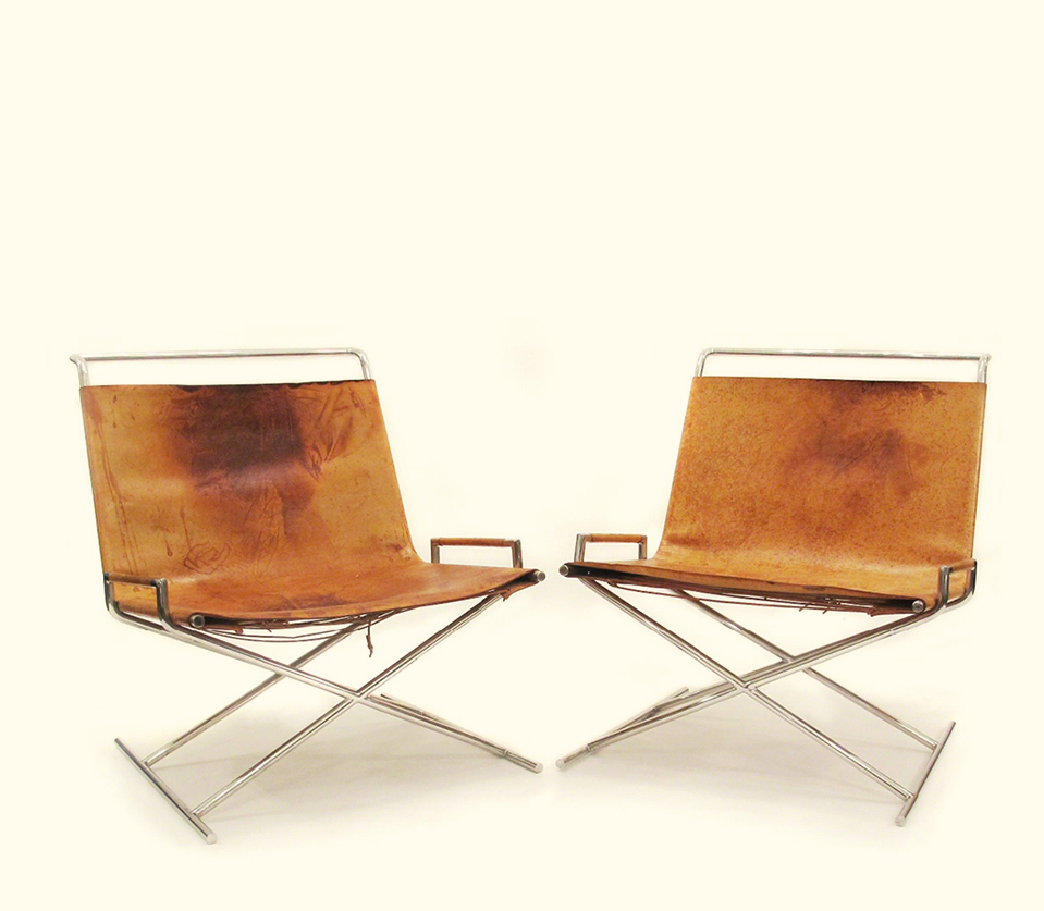 The Milanese Sled Chairs Leather Chromed Solid