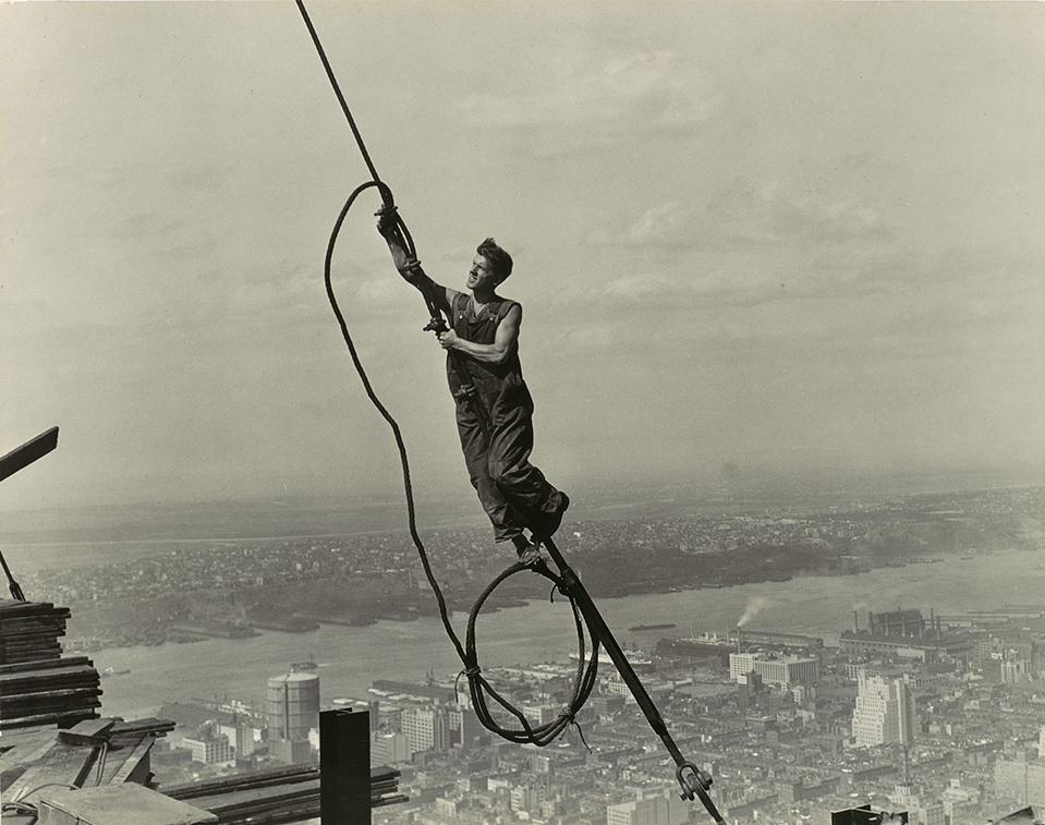 Working Title/Artist: Lewis Hine: Icarus, Empire State BuildingDepartment: PhotographsCulture/Period/Location: HB/TOA Date Code: Working Date:  photography by mma, Digital File: DP105535.tif retouched by film and media (kah) 09_23_14